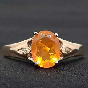 Genuine 1.47ctw Mexican Fire Opal & H-SI Diamond 14K Rose Gold 925 Silver Ring