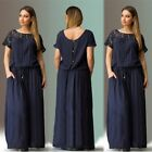 Plus Size Women Casual Short Sleeve Loose Fitting Evening Party Long Maxi Dress