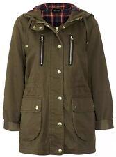 Topshop Khaki Lightweight Tartan Hooded Talbot Vtg Parka Jacket Coat 10 6 38 S