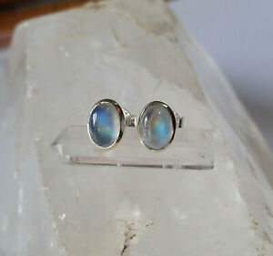 28Q Rainbow Moonstone Solid 925 Sterling Silver Gemstone Stud Earring rrp$49.95