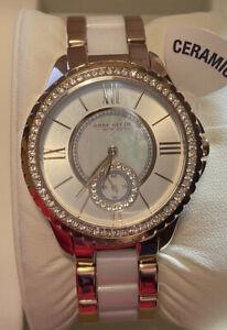 Anne Klein - Two Tone Swarovski Crystal, MOP Dial Women's Watch - 12/2310RGWT