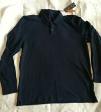 Marks and Spencer M&S Men's Long Sleeved Polo Shirt. Navy Blue. Large L NEW BNWT