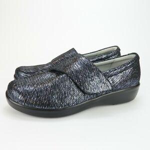 Alegria LAU-853 Lauryn Womens Blue Metallic Leather Comfort Shoes Size 41 EU 10