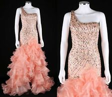 SHERRI HILL PINK BEADED SEQUINED ONE SHOULDER HIGH LOW RUFFLE PROM PAGEANT DRESS