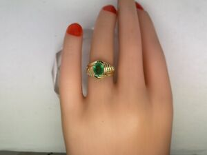 .65CTTW Natural Columbian Emerald 14kt Yellow Gold Ring, size 5.5