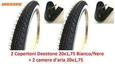 "2 Copertoni + 2 Camera Deestone 20x1,75 Bianco/Nero x Bici 20"" MTB Mountain Bike"