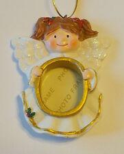 Angel Photo Frame Ornament NEW Resin Brunette Red/Brown Hair