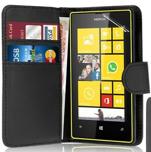 BLACK WALLET Leather Case Phone Cover for NOKIA LUMIA N630/N635 Plain UK STORE