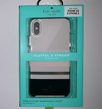 Kate Spade Protective Hardshell Case For iPhone X / XS Charlotte Stripe NEW