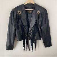 Scully Vintage Fringe Jacket Black Crop Leather Bomber