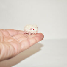 Miniature Dollhouse Guinea Pig White Crochet Doll's Pet Tiny Stuffed Animal Toy