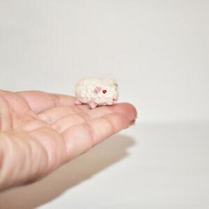 Miniature Dollhouse Guinea Pig White Crochet Doll's Pet Tiny Stuffed Animal Toy