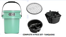 Yeti LoadOut Bucket w/ Lid Tray & Tool Holder Set Tailgate Picnic Camp Turquoise