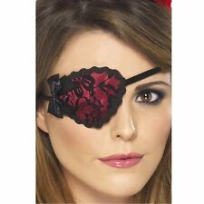 Ladies Pirate Eyepatch Fancy Dress Costume Accessory Womens Red Black Lace Sexy
