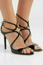New JIMMY CHOO Lang Black Strappy Patent Leather Sandals Italy Size 37.5 ($795)