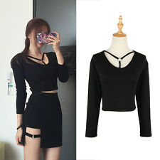 Hollow Out Metal Ring Buckle Long Sleeve Crop Top T-shirt Tee Top Gothic 1 Pc