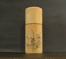 Vintage Hand Etched Scrimshaw Chinese Bovine Bone Box Snuff Box