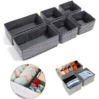 UK 6 SECTION CANVAS STORAGE BOX WARDROBE ORGANISER DRAWER ORGANISER SOCKS TIES