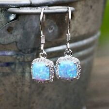 Blue Lab Opal Drop Earrings Sterling Silver 925 , October Birthstone , Wedding