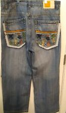 """Pepe Jeans London Embroidered Distressed Relaxed Jeans Size 36/30 """"Lucky Charms"""""""