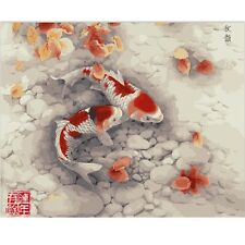 """Paint By Number Kit Fishes DIY Picture 40x50cm 16x20"""" Canvas Arts Crafts Decor"""