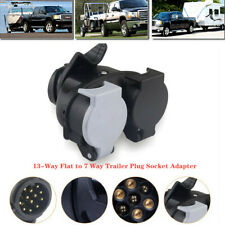 12V 13-Way Flat to 7Way Trailer Plug Socket Adapter Connector RV Wiring Hitch x1