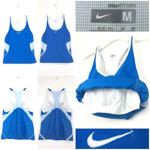 Nike Womens Medium (32in Bust) Blue White Trim Reflective Built-In Bra Racerback