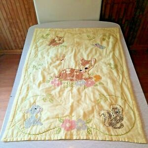 Vintage Hand Embroidered Yellow Baby Crib Quilt Deer Fawn Disney Bambi Thumper
