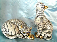 """Pair Ceramic/Resin Spotted/Striped Hand Painted Cats figurines 9"""""""