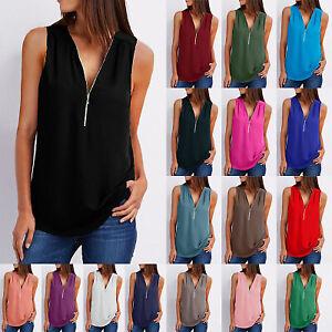 Women Summer Chiffon Sleeveless Shirt Solid Color Loose Zipper Tops