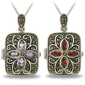Silver Tone Gemstone Flower Marcasite Locket Necklace, 2 Colors