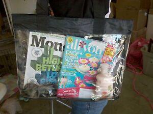Clear Vinyl Black Trim See Thru Plastic Shopping Security Beach Tote Bag Purse