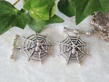 Spinne Spinnennetz Manschettenknöpfe 925 Sterling Silber Gothic