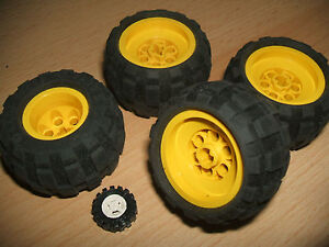 Lego 4 x Large YELLOW Balloon Wheels 43.2 x 28 S + soft Pneumatic Rubber Tyres