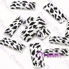50pcs Acrylic False French Nail Art Full Tips 0022 White Base Black LeopardPrint