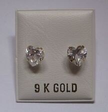 6mm Heart Shaped Cubic Zirconia 9Ct Gold Stud Earrings