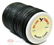 110 Yds. Black 2mm Light Waxed Cotton Cord Lace Craft and Jewelry Beading