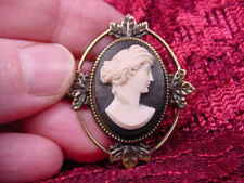 (CS24-4) ROMAN Lady black CAMEO Pin Pendant Jewelry brooch