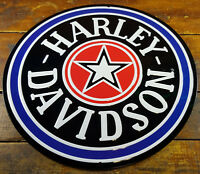 HARLEY DAVIDSON MOTORCYCLE STAR LOGO HIGHLY EMBOSSED METAL ADVERTISING SIGN