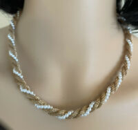 Essence-60's Vintage, Gold Mesh & Faux Pearl, Twisted, Short, Necklace
