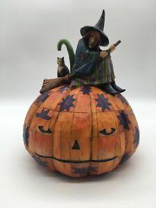 Jim Shore Halloween An Eerie Eve Awaits Witch Cat Pumpkin 2005  - No Box!