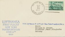 USA 1955 superb first flight of Deutsche Lufthansa NEW YORK - SHANNON -FRANKFORT