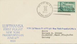 USA 1955 superb first flight of Deutsche Lufthansa NEW YORK - SHANNON -FRANKFORT