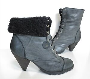 NEW! Ladies EVANS Grey leather Lace-up High-heel ankle boots Size UK 8 Wide fit
