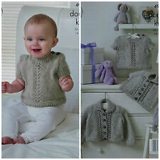 Baby Knitting Pattern Bambino Pizzo Pannello Cardigan, Maglione & Top DK King Cole 4904