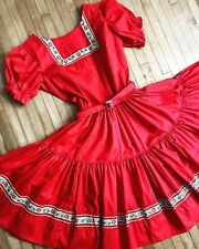 Vintage Square Dance Dress Red Western Fashions Embroidered Ribbon Xs 1950's 60s