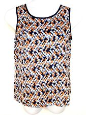 Coldwater Creek Sleeveless Top Blouse Medium 10-12  Womens Navy Orange White (a4
