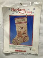 Heirloom Stocking Counted Cross Stitch Kit #8336 Nostalgic Toys 1986 Dimensions