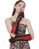 women 40cm long mid invisible zipper with red fingers real sheep leather gloves