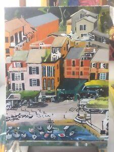 Portofino Italy - Original Hand Painted Acrylic Painting On Canvas